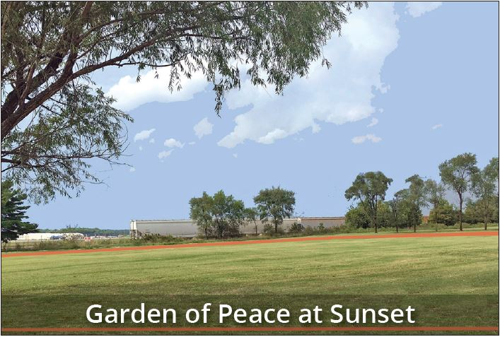 Garden of Peace at Sunset
