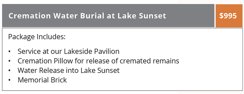 Water Burial Package at Lake Sunset, Evansville, Indiana