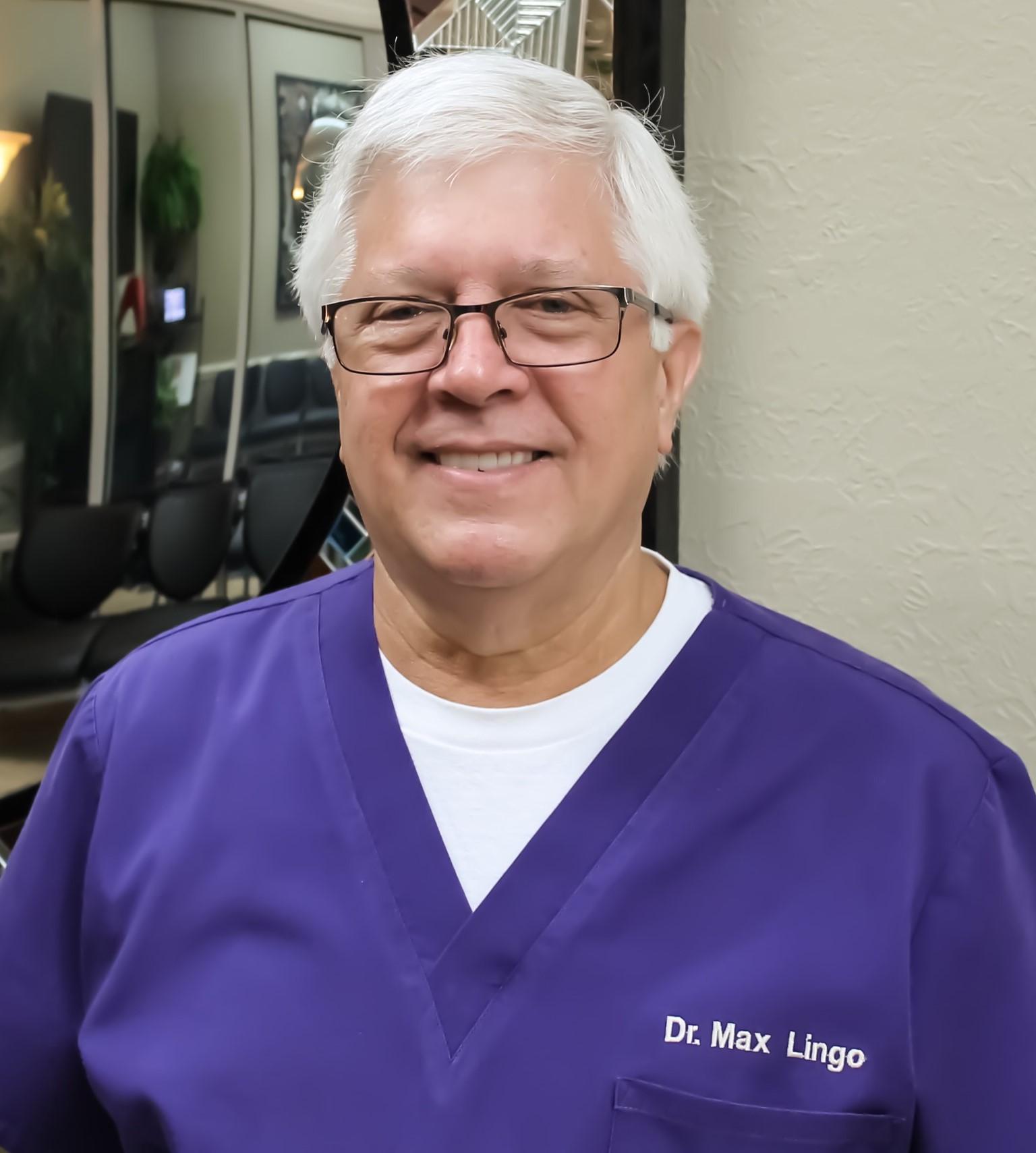 Max headshot purple scrubs for paper - Max L Lingo, DDS