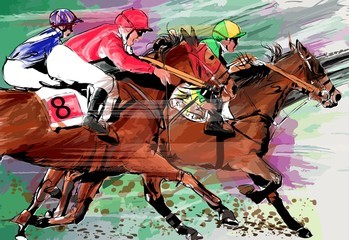 horse racing over grunge background 260nw 603105977 - Barbara Jean Fulkerson